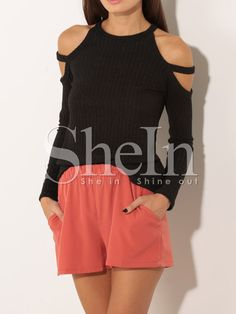 Shop Black Round Neck Cold Shoulder Sweater online. SheIn offers Black Round Neck Cold Shoulder Sweater & more to fit your fashionable needs.