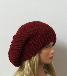 Chunky Knit Cranberry Red Slouchy Beret Hat by AMarieKnits on Etsy, $29.00