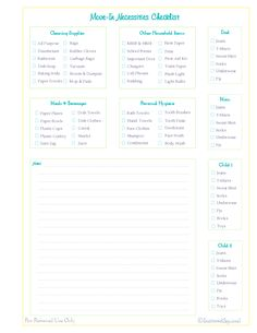 Move In Check List Printable