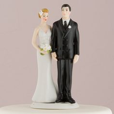 """The Love Pinch"" Caucasian Couple Cake Topper ( Select From 7 Hair Colors )"