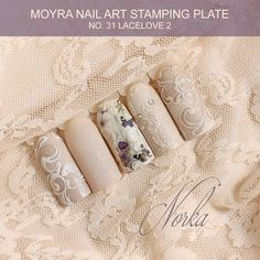 Nail art with Moyra Stamping Plate No. 31 Lacelove 2, Moyra SuperShine Colour Gel No. 502 Snow, No 540 Caffe Latte, Moyra Colour Acrylics, Moyra Water Transfer Sticker No. 18  #moyra #nailart #stamping #plate #lacelove2 #supershine #colourgel #koromnyomda