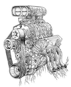 Awesome as a Tattoo. Wonderful drawing of a blower engine! Car Tattoos, Body Art Tattoos, Cool Car Drawings, Art Drawings, Piston Tattoo, V8 Tattoo, Tatoo Heart, Cartoon Car Drawing, Engine Tattoo