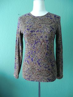 NEW LAUREN RALPH LAUREN BROWN PAISLEY PRINT LONG SLEEVE TOP/TEE M/M #LaurenRalphLauren #KnitTop #Casual
