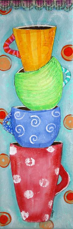 Original Red Green Blue and Orange Coffee Art by ArtByAlisaSteady