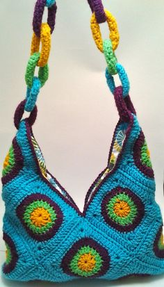 crochet granny square bag -- like the chain handle better than the bag