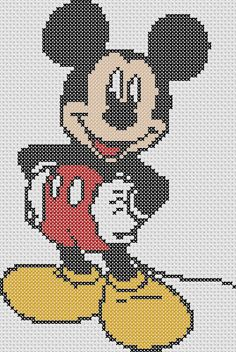 Diy Crafts - Items similar to Mickey Mouse Cross Stitch Chart Pattern ONLY on Etsy Disney Cross Stitch Patterns, Cross Stitch For Kids, Cross Stitch Baby, Cross Stitch Kits, Cross Stitch Charts, Cross Stitch Designs, Beaded Cross Stitch, Cross Stitch Embroidery, Embroidery Patterns