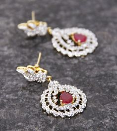 Golden & Pink Embellished Floral Earrings