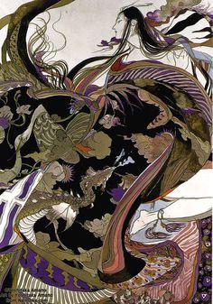 "blackcoffeecinnamon: ""Amano Yoshitaka  天野喜孝 illustration for The Tale of Genji "" Fantasy Kunst, Fantasy Art, Final Fantasy, Denis Zilber, Yoshitaka Amano, Art Asiatique, Art Japonais, Inspiration Art, Japanese Artists"