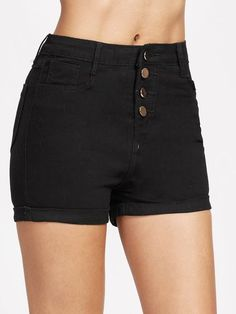 Shop Single Breasted Cuffed Denim Shorts online. SheIn offers Single Breasted Cuffed Denim Shorts & more to fit your fashionable needs.