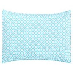 "Cotton percale pillow sham in blue with an ogee motif. Hand-dyed in India.   Product: ShamConstruction Material: Cotton percaleColor: Blue  Features: Hand-printed in IndiaInsert not included  Dimensions: Standard: 21"" x 27""Euro: 27"" x 27""  Cleaning and Care: Machine washable"