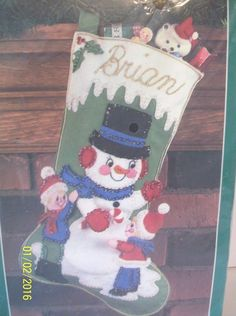 Bucilla Christmas Stocking Kit Winter Pals Felt 32223 Snowman Children Jeweled #Bucilla