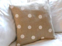 Cream Polka Dots and Burlap Pillow Slip $32.00