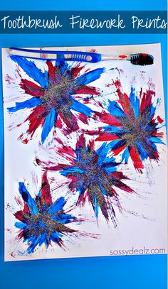 Make Firework Prints Using a Toothbrush - Great 4th of July craft/Memorial Day art project!