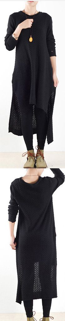 winter black low plus size casual long sweaters knit pullover