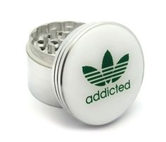 Four Piece Marijuana Addicted Logo Herb, Spice or Tobacco Pollen Aluminum Grinder - http://spicegrinder.biz/four-piece-marijuana-addicted-logo-herb-spice-or-tobacco-pollen-aluminum-grinder/