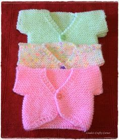 "Sweet Little Baby Tops - Free Knitting Pattern ""Baby Knitting Patterns Small Baby Cardi Pattern by Theresa Roberts."", ""Sweet Little Baby Tops - Free Kni Knitting Dolls Clothes, Baby Doll Clothes, Doll Clothes Patterns, Preemie Clothes, Knitting For Charity, Easy Knitting, Knitting For Kids, Baby Cardigan Knitting Pattern, Baby Knitting Patterns"