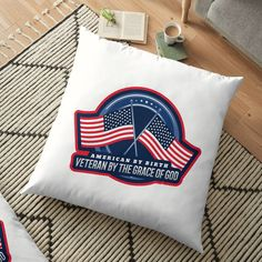 'American By Birth Airforce By The Grace Of God - Floor Pillow by CavemanMedia Pillow Design, Floor Pillows, Decorative Throw Pillows, Air Force, Birth, Cushions, United States, Military, Flooring