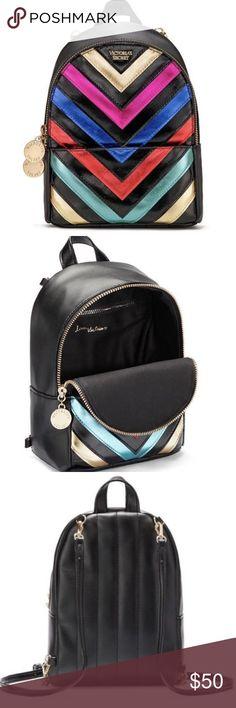 NEW~VS Rainbow Chevron Downtown Mini Backpack NEW NWT Victorias Secret Downtown Rainbow Chevron City Stripes Striped Mini Backpack Amazing & Gorgeous  SAME DAY SHIPPING Victoria's Secret Bags Mini Bags