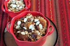 overnight, slow cooker, cherry almond steel-cut oatmeal.  Make a big batch, refrigerate leftovers in 1 cup containers to reheat.  This also links to some other great flavors of the same idea.