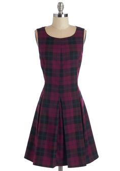 Plaid Case of Loving You Dress - Mid-length, Red, Black, Plaid, Casual, A-line, Sleeveless, Better, Pleats
