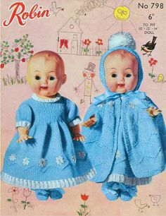 Items similar to Vintage Baby Doll Outfit Knitting Pattern. Robin No 798 To Fit A Baby Doll on Etsy Knitted Doll Patterns, Knitted Dolls, Crochet Dolls, Knitting Patterns, Crochet Patterns, Knitting Dolls Clothes, Baby Doll Clothes, Crochet Doll Clothes, Baby Girl Dress Patterns