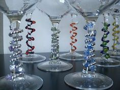 DIY wine glass charms, perfect accessory for the wine glasses I made!