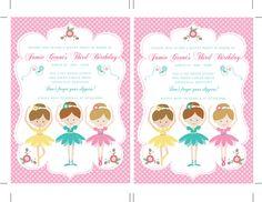 Printable DIY Ballerina Birthday, Ballet Invitations, Ballerina Invitations -:- Dance Invitations, Ballet Party, Ballet Birthday, Ballerina