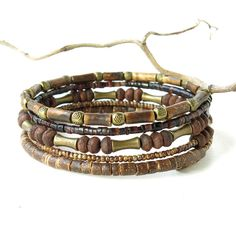 Rustic bead bracelets - stacked natural earthy brown wood, bone, shell, glass & antiqued brass