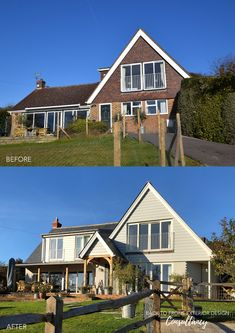 Property facelift and transformation in Guildford, Surrey using cladding, new roof, timber windows and doors and a new colour palette Timber Windows, Dormer Windows, Windows And Doors, Bungalow Exterior, Modern Exterior, Exterior Design, Dream Home Design, House Design, Red Brick Exteriors