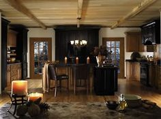 Alder cabinets with rustic wood tones and a dark, rich, finish creates a cozy vibe in this rustic kitchen. Alder Cabinets, Rustic Kitchen Cabinets, Kitchen Cabinet Design, Kitchen Decor, Distressed Cabinets, Kitchen Candles, Black Cabinets, Kitchen Backsplash, Kitchen Island
