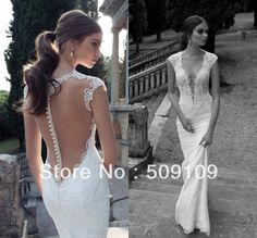 Wholesale - 2014 Berta Backless Lace Wedding Dresses V Neck Appliques Beads Court Train Mermaid Wedding Bridal Gown Custom $165.59