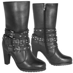 $88.95 These women's motorcycle boots aren't just fashionable and sexy but are also designed to have the same functionality as a hard-working motorcycle boot. These boots are wrapped in full grain leather with three buckle straps embedded with metal rivets and studs. And the oil-resistant non-slip soles takes away all the danger of wearing heels on slick pavement.
