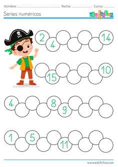 ▷ Cuaderno de Números y Piratas | Descargar PDF First Grade Math Worksheets, Preschool Worksheets, Kindergarten Activities, Numbers Kindergarten, Numbers Preschool, Pattern Worksheet, Flashcards For Kids, English Worksheets For Kids, Typography Alphabet