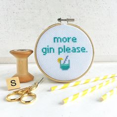 More Gin Please Cross Stitch Craft Kit modern by TheMakeArcade www.etsy.com/shop/themakearcade