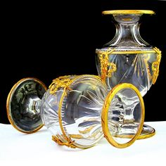 Pair of Antique 19c French  Cut Crystal Vases, Gilt Bronze Mounts, In Presentation Box from Antique Boutique on Ruby Lane