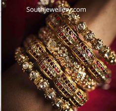 22 Carat gold antique finish bangles studded with kundans and polki diamonds by Kishandas Jewellery. Bridal Bangles, Bridal Jewelry, Gold Bangles, Indian Wedding Jewelry, Indian Jewelry, Hand Jewelry, Gold Jewellery, Jewelery, Luxury Jewelry