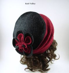 Hat, one of a kind red-burgundy & grey 100% recycled boiled wool with decorative flower. up cycle, recycled, eco friendly, toque.