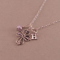 Little Girls Cross Necklace, purple pearl, personalized baptism necklaces, flower girl gifts, first communion gift, goddaughter