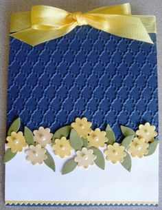 Handmade card using Stampin' Up!'s Boho Blossom Punch & Little Leaves Sizzlits Bellanca Bellanca Kiser Card Making Inspiration, Making Ideas, Cool Cards, Diy Cards, Tarjetas Stampin Up, Embossed Cards, Stamping Up Cards, Pretty Cards, Copics