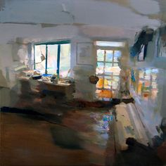 Interior Atelier - Oil on wood, 80 x80 cm. Private collection.