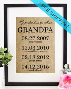 Personalized Father's Day Gift for Grandfather   Grandpa Gift   Fathers Day Burlap Print   Grandchildren Birth Dates Wall Art