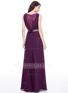 A-Linie/Princess-Linie V-Ausschnitt Bodenlang Chiffon Abendkleid mit Spitze Perlen verziert (017056118) - JJsHouse