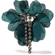 Lanvin Gina burnished gunmetal-tone, crystal and organza brooch (€540) ❤ liked on Polyvore featuring jewelry, brooches, emerald, crystal stone jewelry, crystal jewellery, gunmetal jewelry, crystal jewelry and lanvin