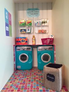 After seeing theoriginal post & then thevideo on American Girl Ideas, I was inspired to create a laundry room for the dolls. I used Rhonda's idea for the washer and dryer that you shared here to create the washer and dryer & your printables to create most of the laundry room supplies on the shelves. …