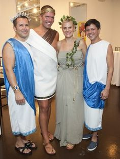 Better than Animal House: Young professionals show plenty of skin in hot toga party Toga Costume, Costumes, Costume Ideas, Greek Toga, Peacock Baby, Toga Party, Young Professional, Animal House, Bridesmaid Dresses