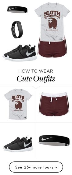 """""""The Rachel jogging outfit"""" by saorisearcher on Polyvore featuring Topshop, NIKE and Fitbit"""