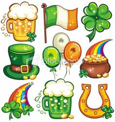 Patrick's Day icon set series by Dianka Set contains St. Patricks Day symbols icons or emblems: mug or glass of fresh Irish beer, Irish nationalflag, Leprechaun top hat, Saint Patricks Day Art, Happy St Patricks Day, St Patricks Day Clipart, Patrick Drawing, Icon Set, Sant Patrick, St Patrick Day Activities, Irish Beer, Leprechaun Hats