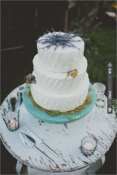 rustic cake topped with lavender | CHECK OUT MORE IDEAS AT WEDDINGPINS.NET | #wedding