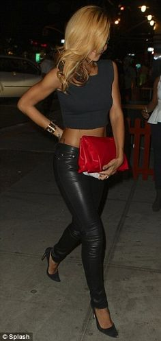 crop top, leather pants, and a statement clutch have never looked better