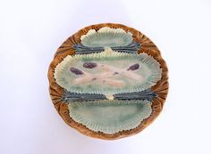 French Vintage Majolica Asparagus Plate by Vintagefrenchlinens